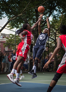"""Monet Johnson, Michelle Campbell West 4th Street Women's Pro Classic NYC: Semifinal 2: Big East Ballers (Red) 84 v No Limit (Navy) 80, """"The Cage"""", New York, NY, August 18, 2012"""