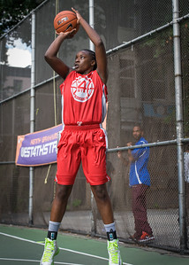 """Korinne Campbell West 4th Street Women's Pro Classic NYC: Semifinal 2: Big East Ballers (Red) 84 v No Limit (Navy) 80, """"The Cage"""", New York, NY, August 18, 2012"""