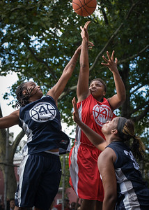 """Tasha Cannon, Kim Blakney West 4th Street Women's Pro Classic NYC: Semifinal 2: Big East Ballers (Red) 84 v No Limit (Navy) 80, """"The Cage"""", New York, NY, August 18, 2012"""