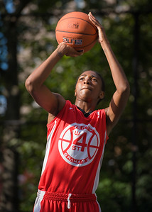 """Shenneika Smith  West 4th Street Women's Pro Classic NYC: Semifinal 2: Big East Ballers (Red) 84 v No Limit (Navy) 80, """"The Cage"""", New York, NY, August 18, 2012"""