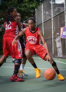 "Shenneika Smith, Kellindra Zackery, Nastassia Boucicault West 4th Street Women's Pro Classic NYC: Semifinal 2: Big East Ballers (Red) 84 v No Limit (Navy) 80, ""The Cage"", New York, NY, August 18, 2012"