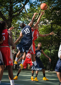 """Tasha Cannon, Krystal Parnell West 4th Street Women's Pro Classic NYC: Semifinal 2: Big East Ballers (Red) 84 v No Limit (Navy) 80, """"The Cage"""", New York, NY, August 18, 2012"""
