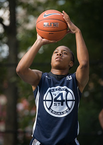 """Krystal Parnell  West 4th Street Women's Pro Classic NYC: Semifinal 2: Big East Ballers (Red) 84 v No Limit (Navy) 80, """"The Cage"""", New York, NY, August 18, 2012"""