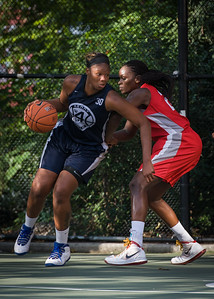 """Jennifer Blanding, Michelle Campbell West 4th Street Women's Pro Classic NYC: Semifinal 2: Big East Ballers (Red) 84 v No Limit (Navy) 80, """"The Cage"""", New York, NY, August 18, 2012"""