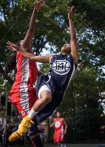 """Krystal Parnell, Kellindra Zackery West 4th Street Women's Pro Classic NYC: Semifinal 2: Big East Ballers (Red) 84 v No Limit (Navy) 80, """"The Cage"""", New York, NY, August 18, 2012"""