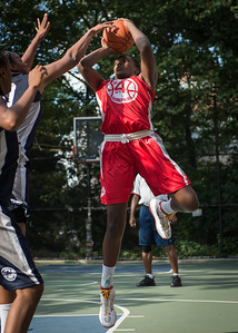 """Michelle Campbell West 4th Street Women's Pro Classic NYC: Semifinal 2: Big East Ballers (Red) 84 v No Limit (Navy) 80, """"The Cage"""", New York, NY, August 18, 2012"""