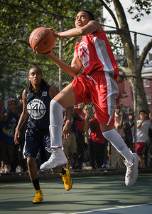 """Nicole Rhem West 4th Street Women's Pro Classic NYC: Semifinal 2: Big East Ballers (Red) 84 v No Limit (Navy) 80, """"The Cage"""", New York, NY, August 18, 2012"""