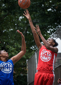 """Shenneika Smith, Miriam Seale West 4th Street Women's Pro Classic NYC: Championship Game: Big East Ballers (Red) 80 v Primetime (Blue) 76 , """"The Cage"""", New York, NY, August 19, 2012"""