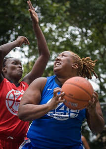 """Jazmine Wright, Michelle Campbell West 4th Street Women's Pro Classic NYC: Championship Game: Big East Ballers (Red) 80 v Primetime (Blue) 76 , """"The Cage"""", New York, NY, August 19, 2012"""