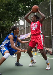 """Michelle Campbell, Maurita Reid West 4th Street Women's Pro Classic NYC: Championship Game: Big East Ballers (Red) 80 v Primetime (Blue) 76 , """"The Cage"""", New York, NY, August 19, 2012"""