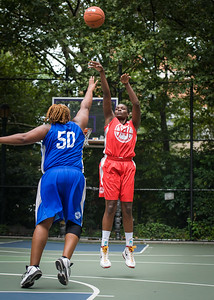 """Michelle Campbell, Jazmine Wright West 4th Street Women's Pro Classic NYC: Championship Game: Big East Ballers (Red) 80 v Primetime (Blue) 76 , """"The Cage"""", New York, NY, August 19, 2012"""