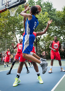 """Maurita Reid West 4th Street Women's Pro Classic NYC: Championship Game: Big East Ballers (Red) 80 v Primetime (Blue) 76 , """"The Cage"""", New York, NY, August 19, 2012"""