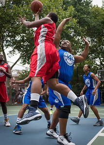 """Tasha Cannon, Jazmine Wright West 4th Street Women's Pro Classic NYC: Championship Game: Big East Ballers (Red) 80 v Primetime (Blue) 76 , """"The Cage"""", New York, NY, August 19, 2012"""