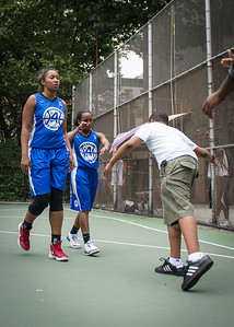 """Miriam Seale, Renee Taylor West 4th Street Women's Pro Classic NYC: Championship Game: Big East Ballers (Red) 80 v Primetime (Blue) 76 , """"The Cage"""", New York, NY, August 19, 2012"""