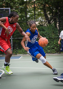 """Maurita Reid, Korinne Campbell West 4th Street Women's Pro Classic NYC: Championship Game: Big East Ballers (Red) 80 v Primetime (Blue) 76 , """"The Cage"""", New York, NY, August 19, 2012"""