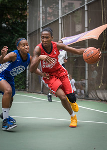 """Shenneika Smith, Bianca Brown West 4th Street Women's Pro Classic NYC: Championship Game: Big East Ballers (Red) 80 v Primetime (Blue) 76 , """"The Cage"""", New York, NY, August 19, 2012"""