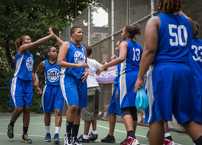 """West 4th Street Women's Pro Classic NYC: Championship Game: Big East Ballers (Red) 80 v Primetime (Blue) 76 , """"The Cage"""", New York, NY, August 19, 2012"""