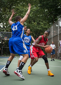 """Shenneika Smith, Dana Wynne West 4th Street Women's Pro Classic NYC: Championship Game: Big East Ballers (Red) 80 v Primetime (Blue) 76 , """"The Cage"""", New York, NY, August 19, 2012"""