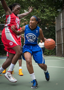 """Bianca Brown, Michelle Campbell West 4th Street Women's Pro Classic NYC: Championship Game: Big East Ballers (Red) 80 v Primetime (Blue) 76 , """"The Cage"""", New York, NY, August 19, 2012"""
