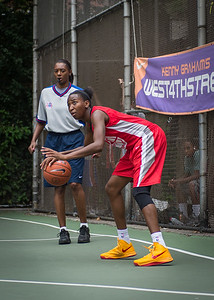 """Shenneika Smith West 4th Street Women's Pro Classic NYC: Championship Game: Big East Ballers (Red) 80 v Primetime (Blue) 76 , """"The Cage"""", New York, NY, August 19, 2012"""