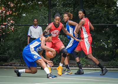 """Bianca Brown, Shenneika Smith West 4th Street Women's Pro Classic NYC: Championship Game: Big East Ballers (Red) 80 v Primetime (Blue) 76 , """"The Cage"""", New York, NY, August 19, 2012"""