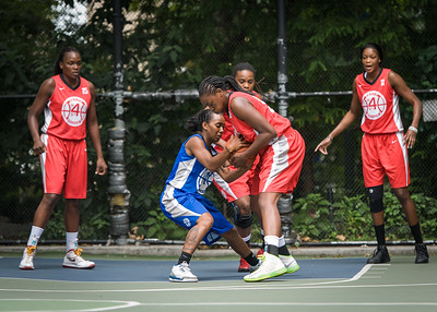 """Renee Taylor, Korinne Campbell West 4th Street Women's Pro Classic NYC: Championship Game: Big East Ballers (Red) 80 v Primetime (Blue) 76 , """"The Cage"""", New York, NY, August 19, 2012"""