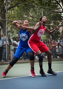 """Miriam Seale, Victoria Macaulay West 4th Street Women's Pro Classic NYC: Championship Game: Big East Ballers (Red) 80 v Primetime (Blue) 76 , """"The Cage"""", New York, NY, August 19, 2012"""