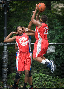 """Tasha Cannon, Victoria Macaulay West 4th Street Women's Pro Classic NYC: Championship Game: Big East Ballers (Red) 80 v Primetime (Blue) 76 , """"The Cage"""", New York, NY, August 19, 2012"""
