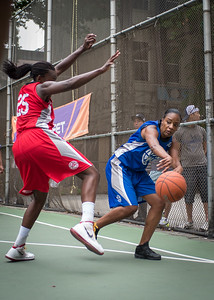"""Katrena Perou, Michelle Campbell West 4th Street Women's Pro Classic NYC: Championship Game: Big East Ballers (Red) 80 v Primetime (Blue) 76 , """"The Cage"""", New York, NY, August 19, 2012"""