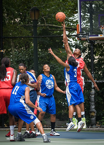 """Korinne Campbell, Renee Taylor West 4th Street Women's Pro Classic NYC: Championship Game: Big East Ballers (Red) 80 v Primetime (Blue) 76 , """"The Cage"""", New York, NY, August 19, 2012"""