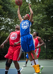 """Shemika Stevens, Kellindra Zackery West 4th Street Women's Pro Classic NYC: Championship Game: Big East Ballers (Red) 80 v Primetime (Blue) 76 , """"The Cage"""", New York, NY, August 19, 2012"""