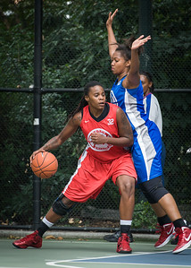 """Kellindra Zackery, Miriam Seale West 4th Street Women's Pro Classic NYC: Championship Game: Big East Ballers (Red) 80 v Primetime (Blue) 76 , """"The Cage"""", New York, NY, August 19, 2012"""