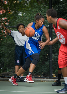 """Miriam Seale West 4th Street Women's Pro Classic NYC: Championship Game: Big East Ballers (Red) 80 v Primetime (Blue) 76 , """"The Cage"""", New York, NY, August 19, 2012"""