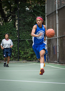 """Shemika Stevens West 4th Street Women's Pro Classic NYC: Championship Game: Big East Ballers (Red) 80 v Primetime (Blue) 76 , """"The Cage"""", New York, NY, August 19, 2012"""