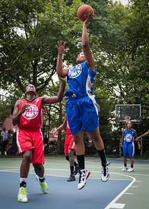 """Dana Wynne, Korinne Campbell West 4th Street Women's Pro Classic NYC: Championship Game: Big East Ballers (Red) 80 v Primetime (Blue) 76 , """"The Cage"""", New York, NY, August 19, 2012"""