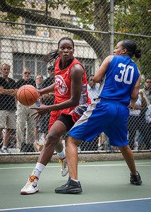 """Michelle Campbell, Katrena Perou West 4th Street Women's Pro Classic NYC: Championship Game: Big East Ballers (Red) 80 v Primetime (Blue) 76 , """"The Cage"""", New York, NY, August 19, 2012"""