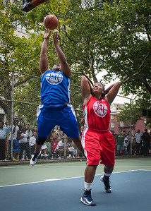 """Jazmine Wright, Tasha Cannon West 4th Street Women's Pro Classic NYC: Championship Game: Big East Ballers (Red) 80 v Primetime (Blue) 76 , """"The Cage"""", New York, NY, August 19, 2012"""