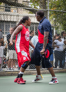 """Kellindra Zackery, Coach Kem Prada West 4th Street Women's Pro Classic NYC: Championship Game: Big East Ballers (Red) 80 v Primetime (Blue) 76 , """"The Cage"""", New York, NY, August 19, 2012"""