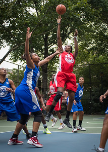 """Victoria Macaulay West 4th Street Women's Pro Classic NYC: Championship Game: Big East Ballers (Red) 80 v Primetime (Blue) 76 , """"The Cage"""", New York, NY, August 19, 2012"""