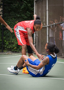 """Shenneika Smith, Renee Taylor West 4th Street Women's Pro Classic NYC: Championship Game: Big East Ballers (Red) 80 v Primetime (Blue) 76 , """"The Cage"""", New York, NY, August 19, 2012"""