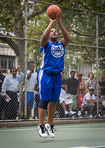 """Jazmine Wright West 4th Street Women's Pro Classic NYC: Championship Game: Big East Ballers (Red) 80 v Primetime (Blue) 76 , """"The Cage"""", New York, NY, August 19, 2012"""
