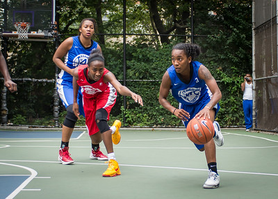 """Renee Taylor, Shenneika Smith West 4th Street Women's Pro Classic NYC: Championship Game: Big East Ballers (Red) 80 v Primetime (Blue) 76 , """"The Cage"""", New York, NY, August 19, 2012"""