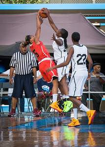 Cherise Johnson, Korinne Campbell NIke Women's Challenge: West 4th St. All Stars (White) v Uptown Challenge (Red), Rivington Court, New York, NY. July 25, 2012.