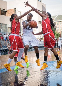 Maurita Reid, Cherise George, Maria Clifton NIke Women's Challenge: West 4th St. All Stars (White) v Uptown Challenge (Red), Rivington Court, New York, NY. July 25, 2012.