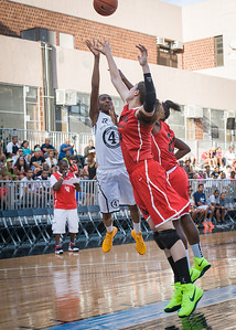 Shenneika Smith, Danielle Fiacco NIke Women's Challenge: West 4th St. All Stars (White) v Uptown Challenge (Red), Rivington Court, New York, NY. July 25, 2012.