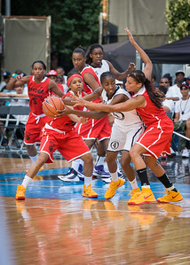 Shenneika Smith, Maria Clifton, Shemika Stevens NIke Women's Challenge: West 4th St. All Stars (White) v Uptown Challenge (Red), Rivington Court, New York, NY. July 25, 2012.