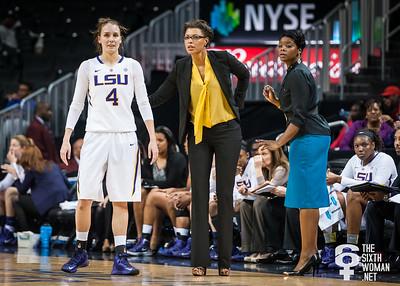 LSU head coach Nikki Caldwell, Anne Pedersen