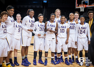 Shanece McKinney #21, All-Tournament Team; Raigyne Moncrief #11, Most Outstanding Player; LSU Lady Tigers, Champions.