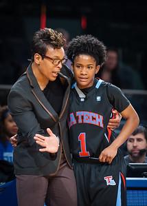 LA Tech head coach Teresa Weatherspoon talks with her point guard Janay Borum #1.