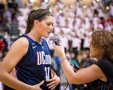 Stefanie Dolson #31 is interviewed after the game.